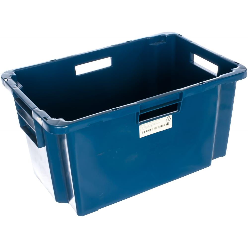 Мясной ящик п/э 600х400х300 сплошной синий тара