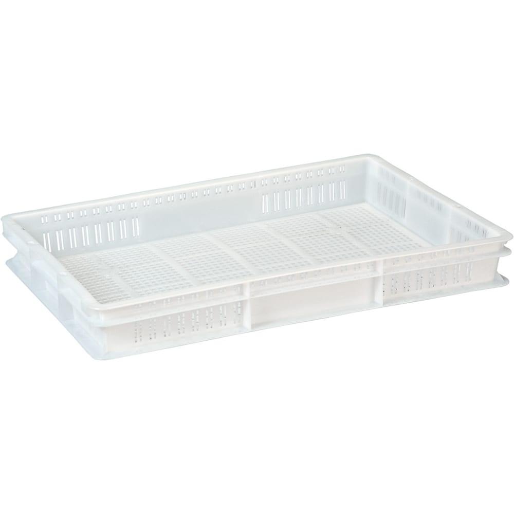 Ящик п/э с перфорацией 600x400x75 белый морозостойкий