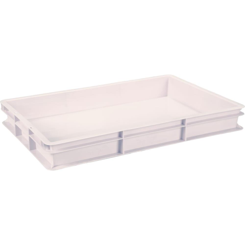Сплошной ящик п/э 600x400x75 белый морозостойкий тара