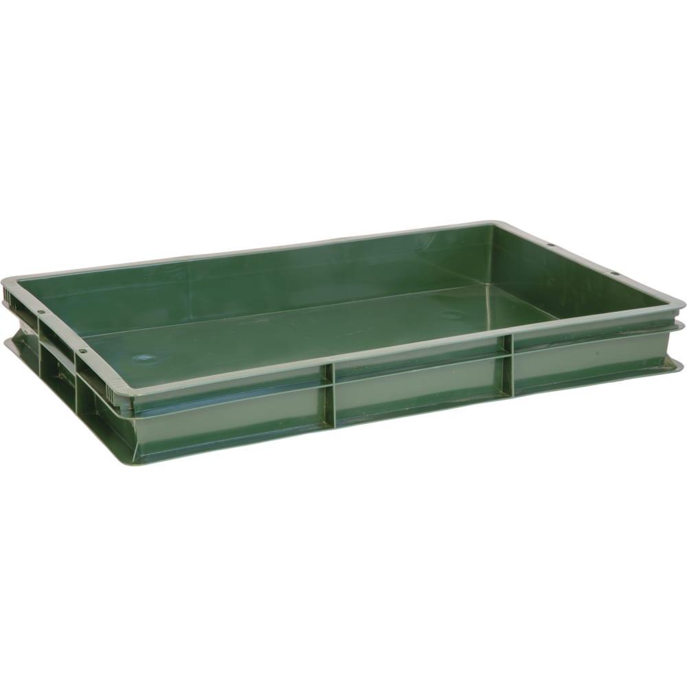 Сплошной ящик п/э 600x400x75 зеленый тара 06847
