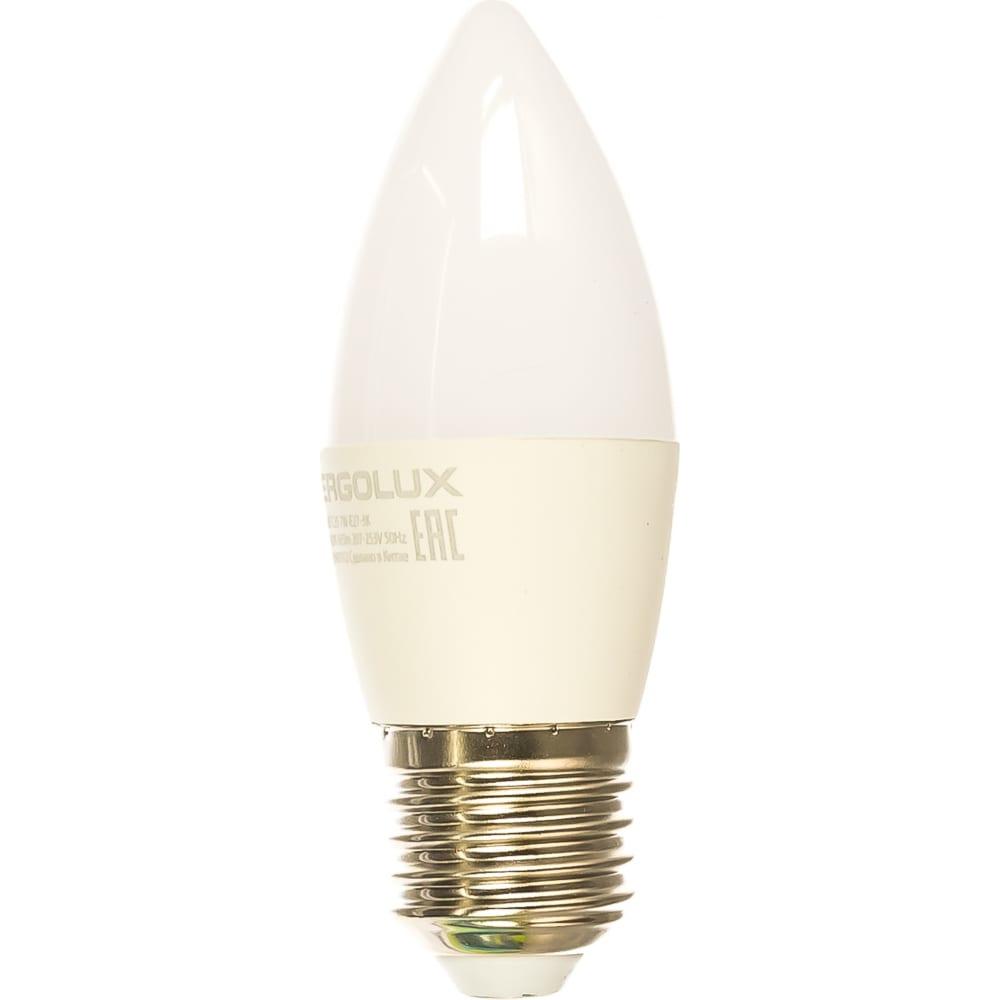 Электрическая светодиодная лампа ergolux led-c35-7w-e27-3k свеча 7вт e27 3000k 172-265в 13297  - купить со скидкой