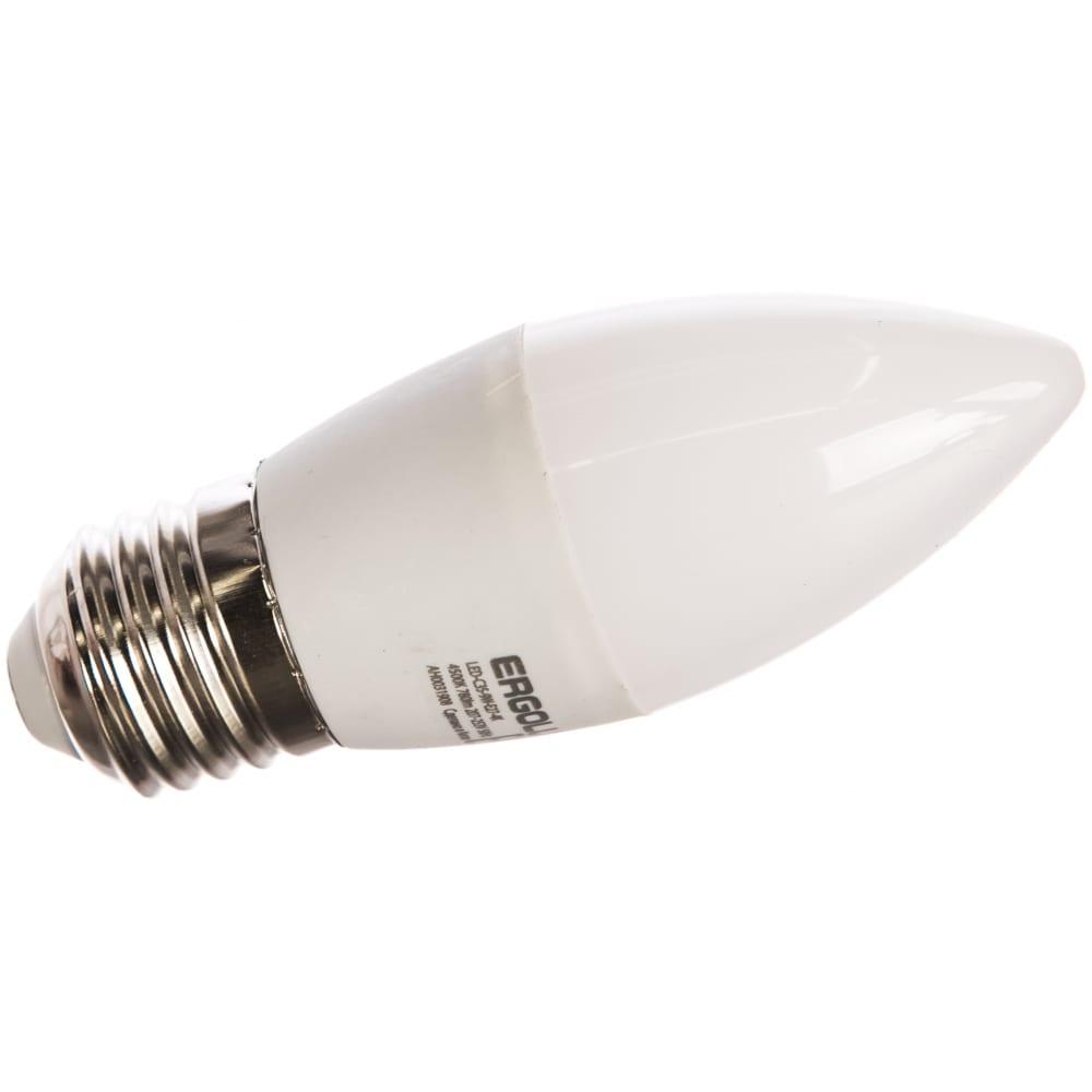 Электрическая светодиодная лампа ergolux led-c35-9w-e27-4k свеча 9вт e27 4500k 172-265в 13171  - купить со скидкой