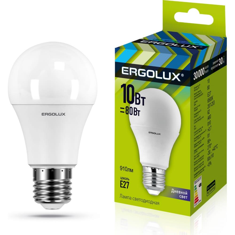 Купить Электрическая светодиодная лампа ergolux led-a60-10w-e27-6k лон 10вт e27 6500k 172-265в 12879