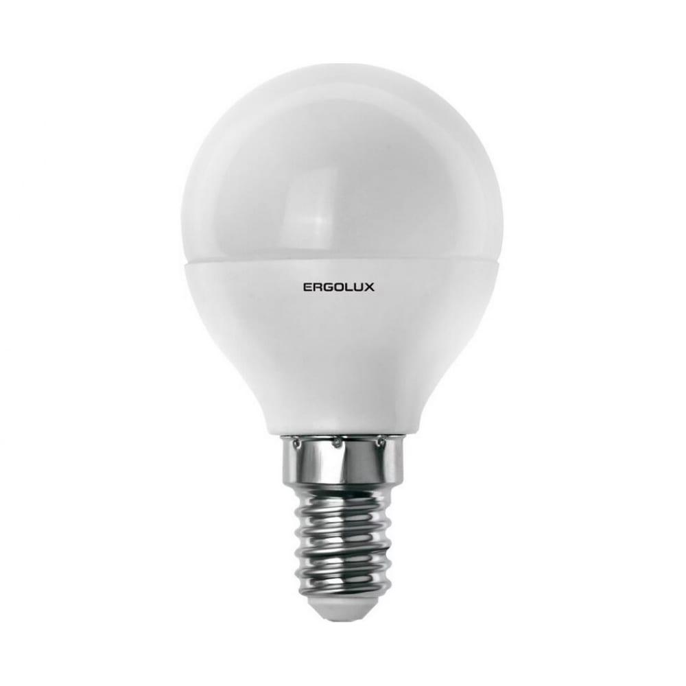 Электрическая светодиодная лампа ergolux led-g45-9w-e14-3k шар 9вт e14 3000k 172-265в 13173  - купить со скидкой