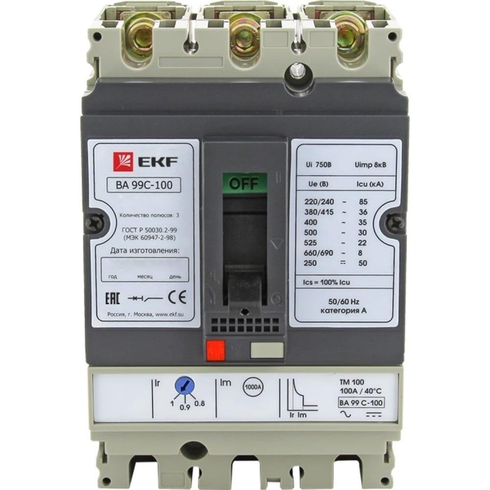 Автоматический выключатель ekf ва-99c 100/32а 3 полюса 36ка mccb99c-100-32