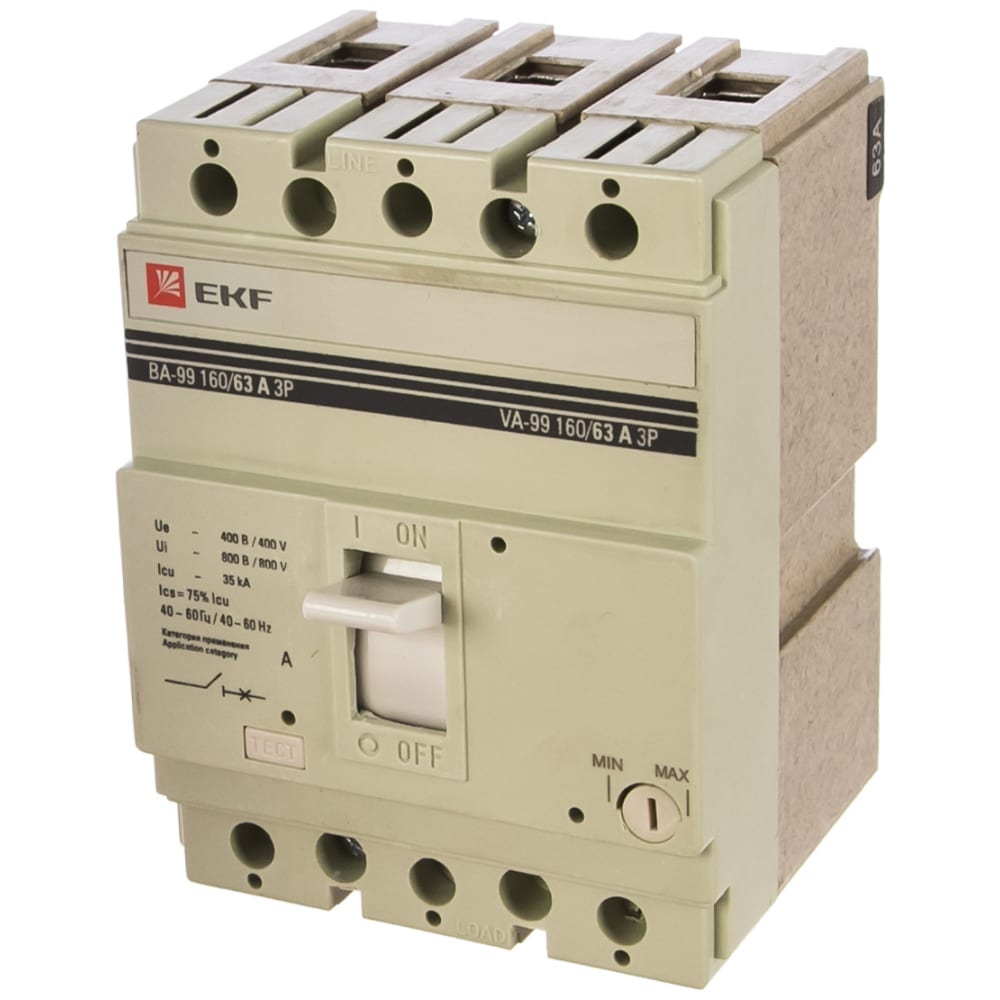 Автоматический трехполюсный выключатель ekf ва99/16 63а 3ф 35ка рэ630а mccb99-160-63