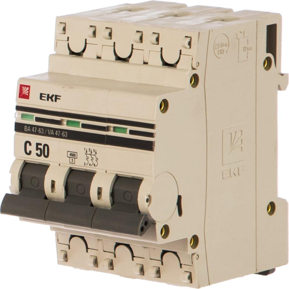 Купить Автоматический трехполюсный выключатель ekf 50а с ва47-63 4.5ка proxima mcb4763-3-50c-pro
