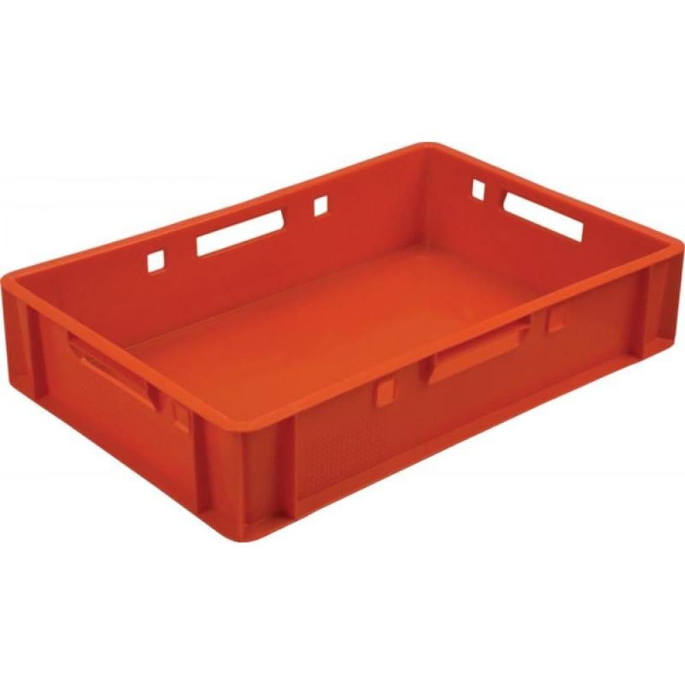 Мясной сплошной ящик, 600x400x120мм, красный тара