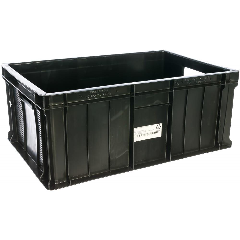 Мясной сплошной ящик, 600x400x250мм, черный, вес