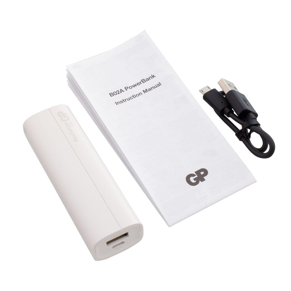 Купить Внешний аккумулятор gp емкостью 2500 мач. цвет белый. 02awe-2crb1
