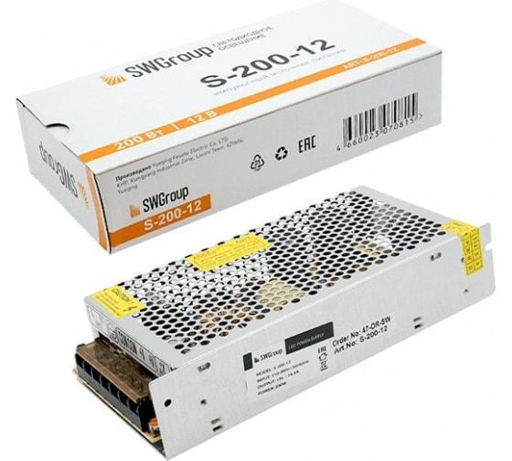 Блок питания сетка SWG 200W, 12V, S-200-12 00000000109 3