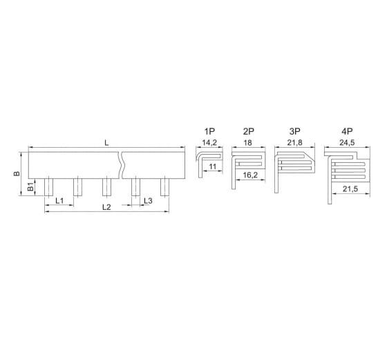 Соединительная шина 1п типа PIN IEK YNS21-1-063 3