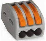Соединительная клемма с рычажком WAGO 222-413 3-х проводная 0,08-2,5 кв.мм, 400В, 32А, без пасты, 50 шт. 2651
