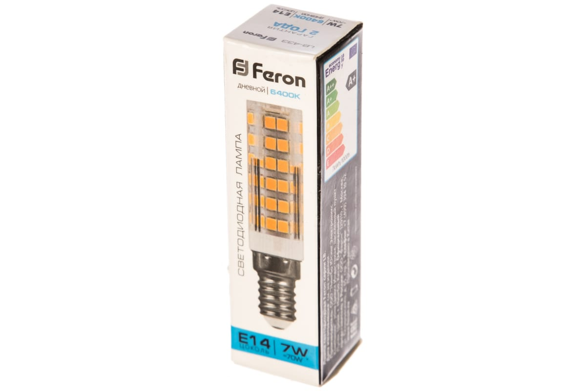 Светодиодная лампа FERON 7W 230V E14 6400K LB-433 25986