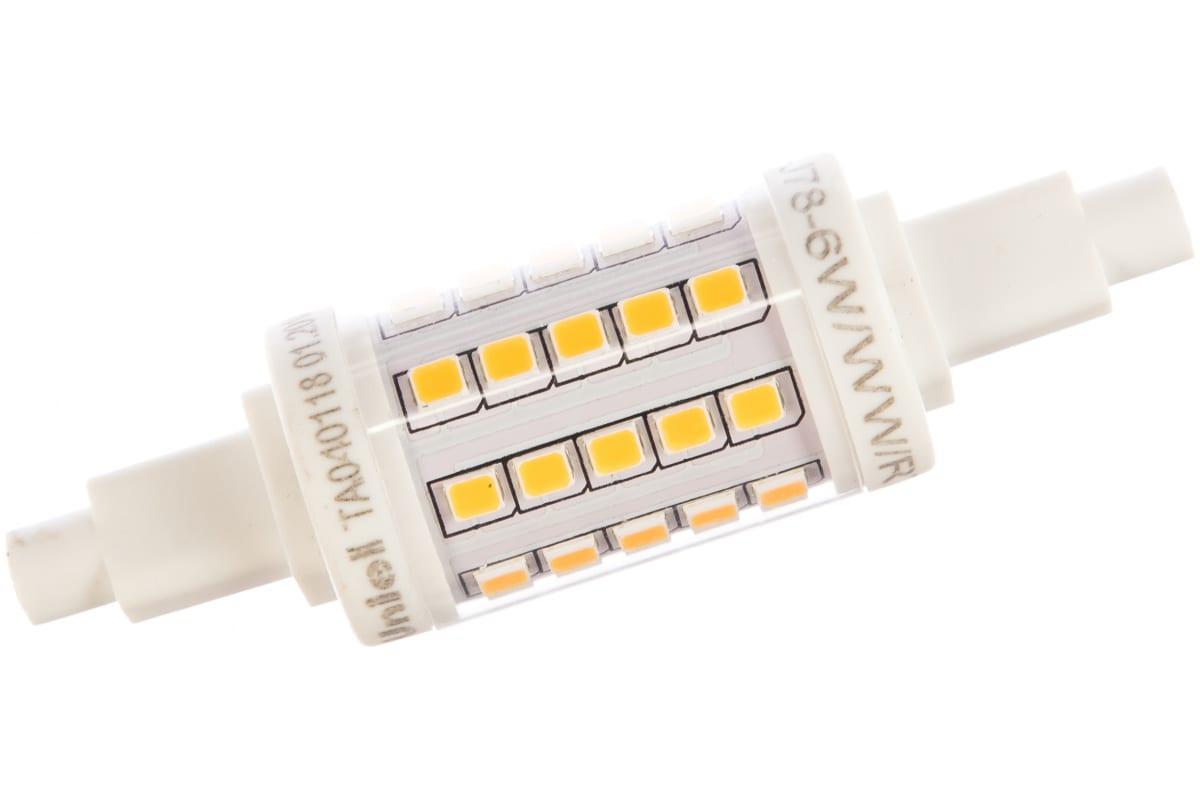 Светодиодная лампа Uniel LED-J78-6W/WW/R7s/CL PLZ06WH. Прозрачная. UL-00001554