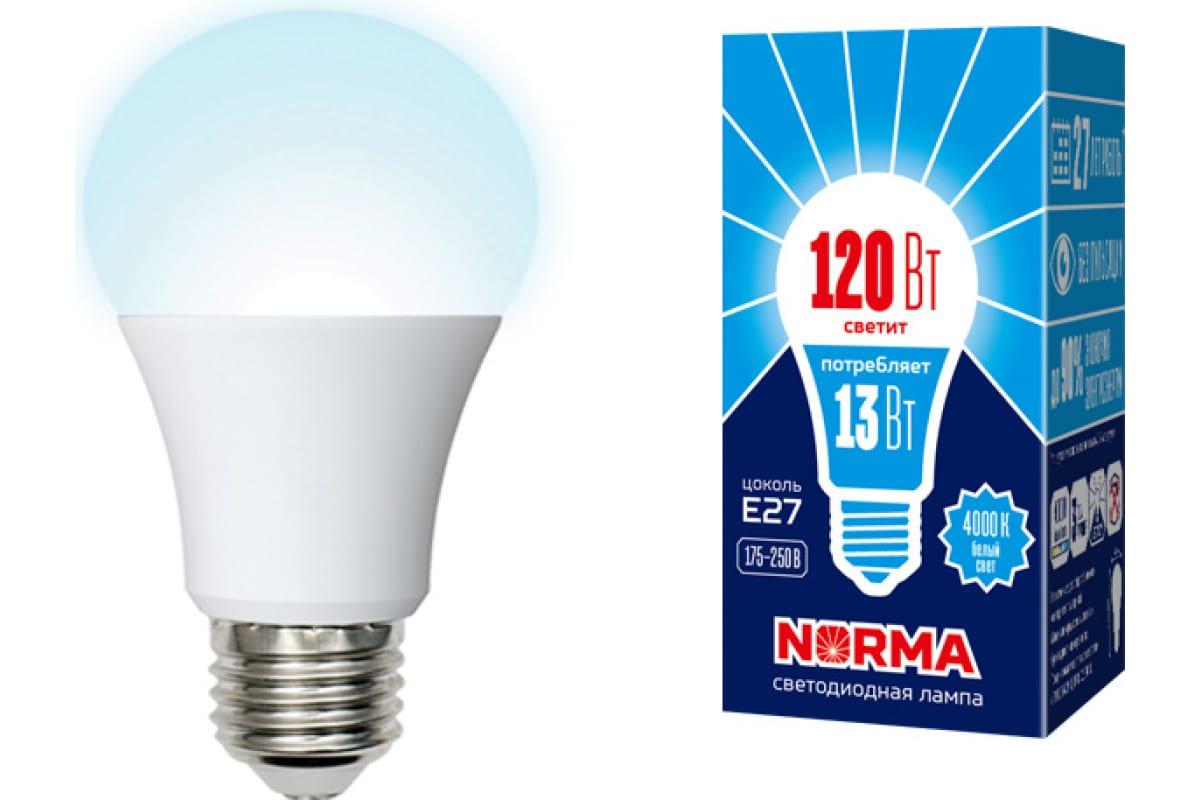 Светодиодная лампа Volpe LED-A60-13W/NW/E27/FR/NR. Форма A матовая. UL-00004023