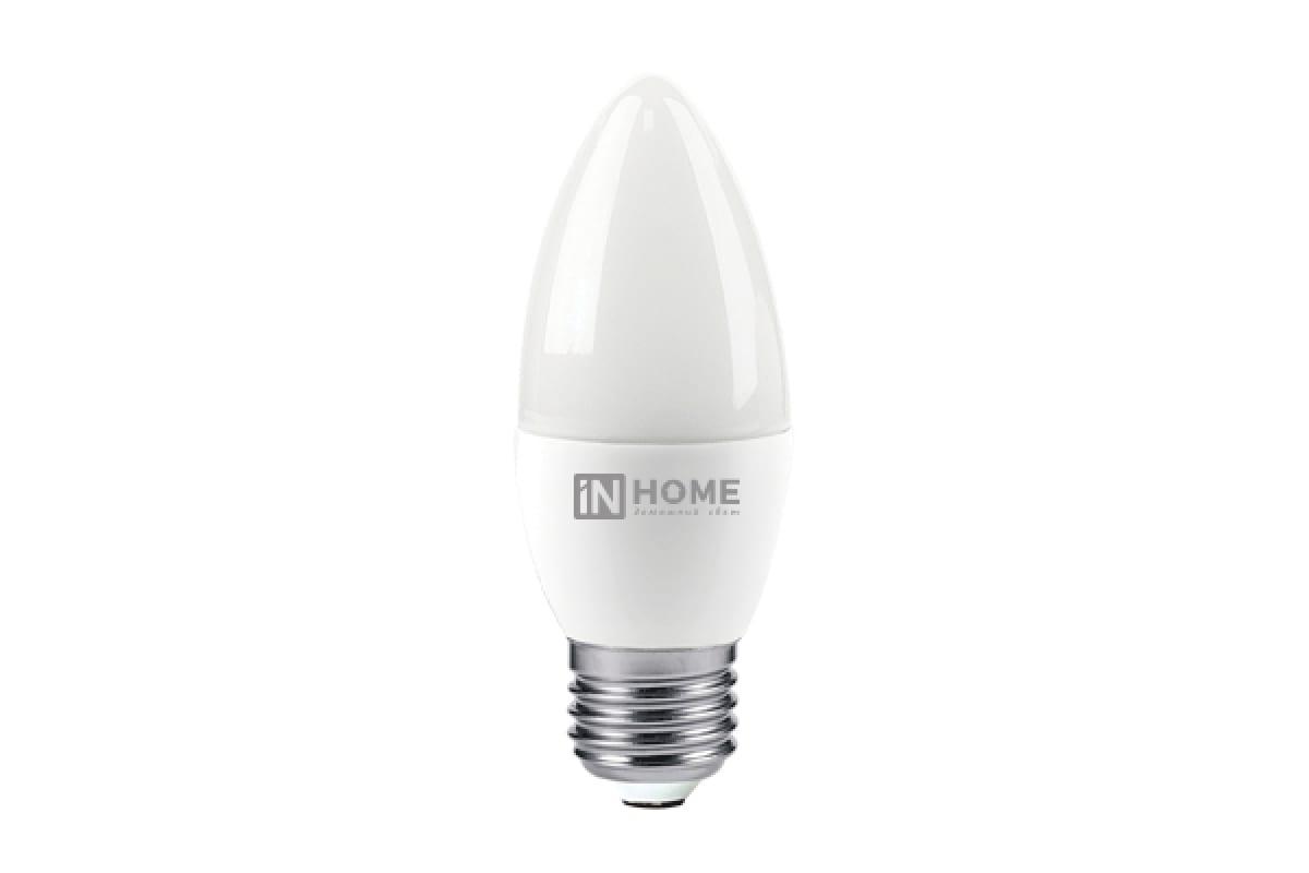 Светодиодная лампа IN HOME LED-СВЕЧА-VC 6Вт 230В Е27 4000К 480Лм 4690612020419