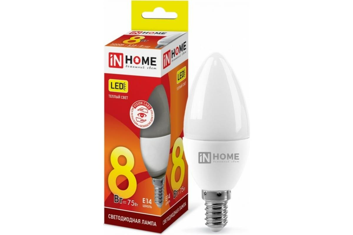 Светодиодная лампа IN HOME LED-СВЕЧА-VC 8Вт 230В Е14 3000К 600Лм 4690612020426