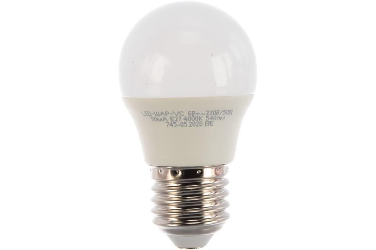 Светодиодная лампа IN HOME LED-ШАР-VC 6Вт 230В Е27 4000К 480Лм 4690612020532