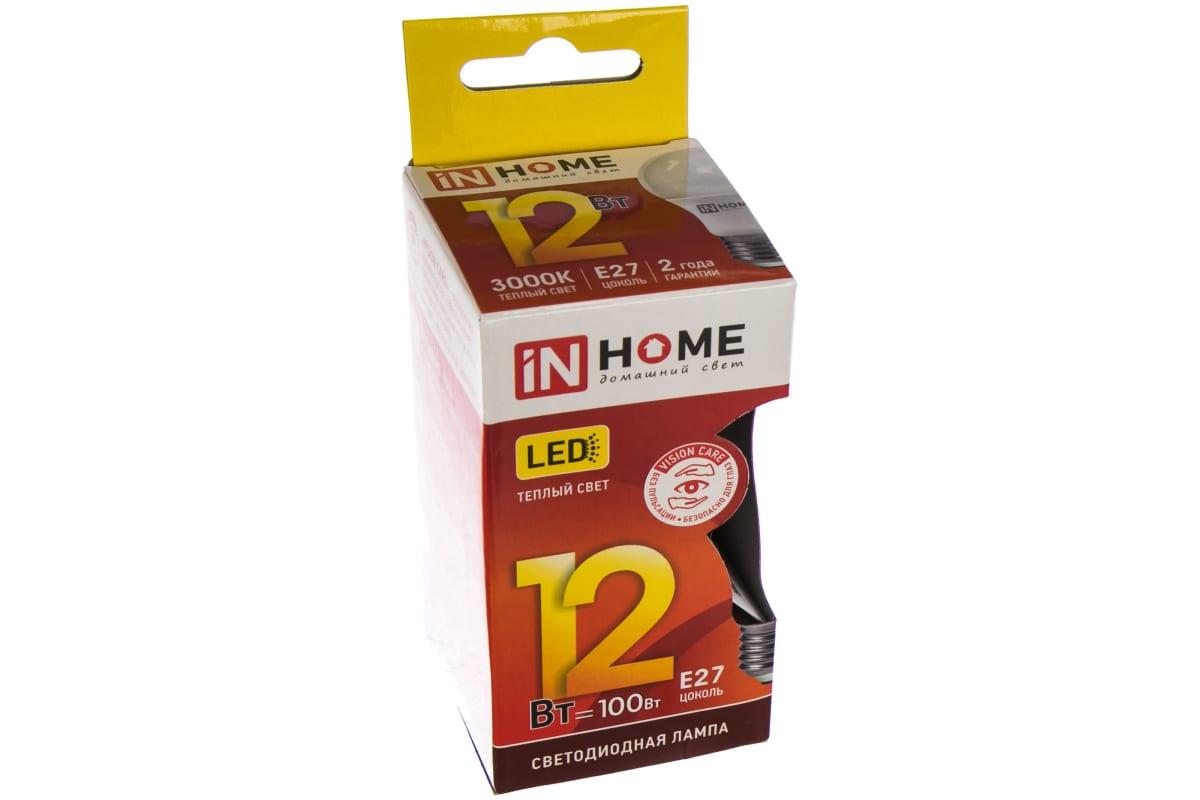 Светодиодная лампа IN HOME LED-A60-VC 12Вт 230В Е27 3000К 1080Лм 4690612020235
