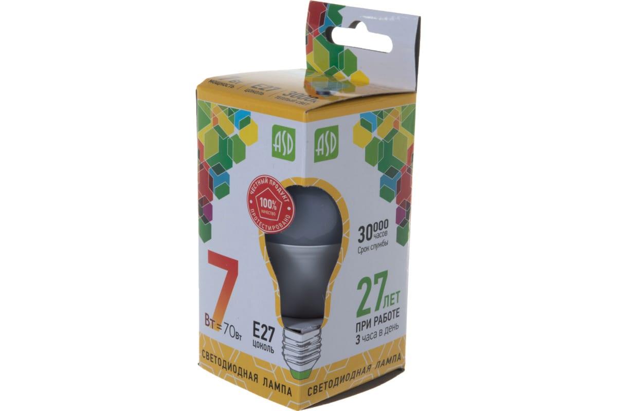 Лампа ASD сд LED-A60-std 7Вт 230В Е27 3000К 630Лм 4690612001692