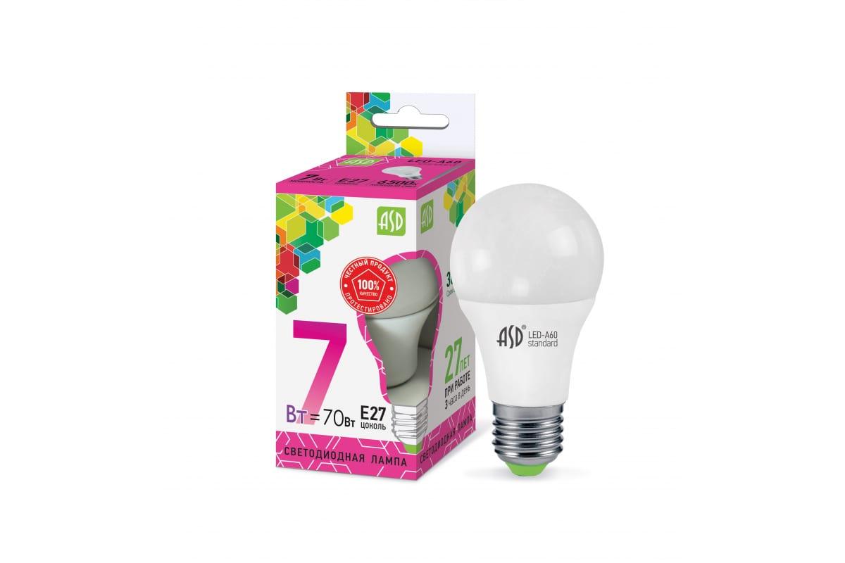 Лампа ASD сд LED-A60-std 7Вт 230В Е27 6500К 630Лм 4690612018997