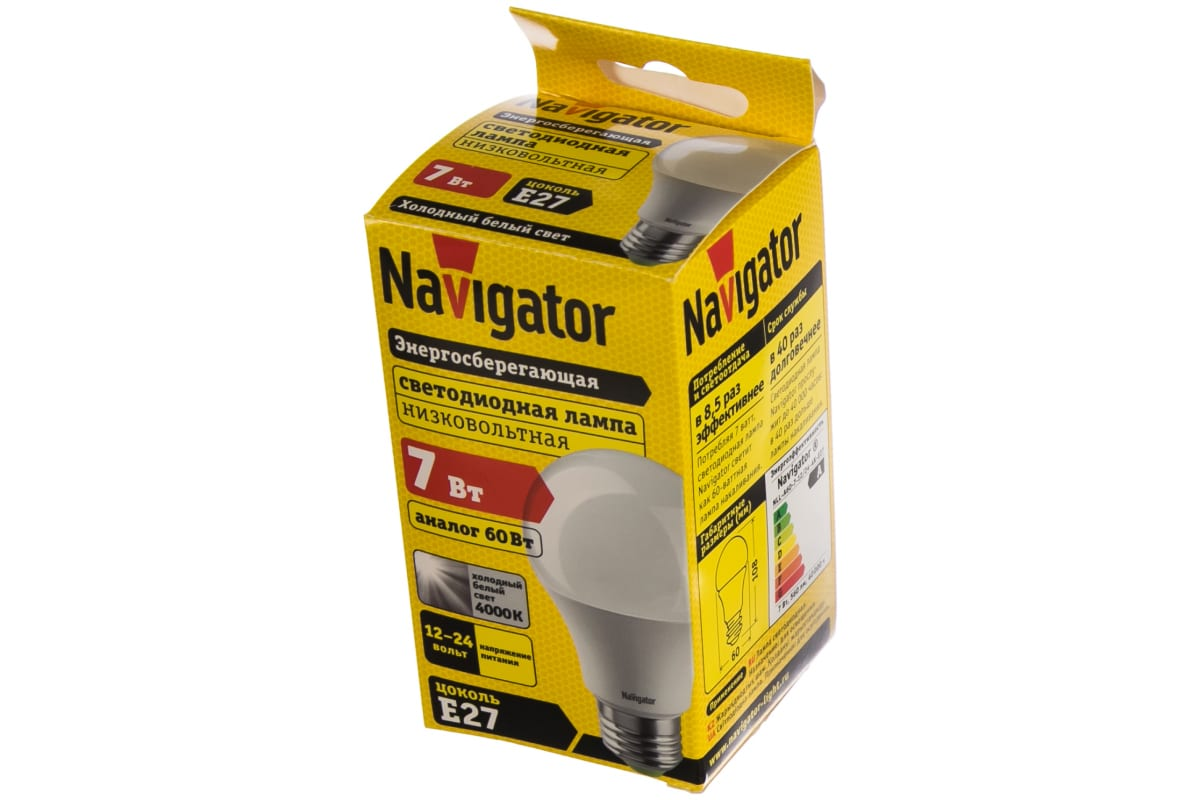 Светодиодная лампа NAVIGATOR 61 473 NLL-A60-7-12/24-4K-E27 61473 481053