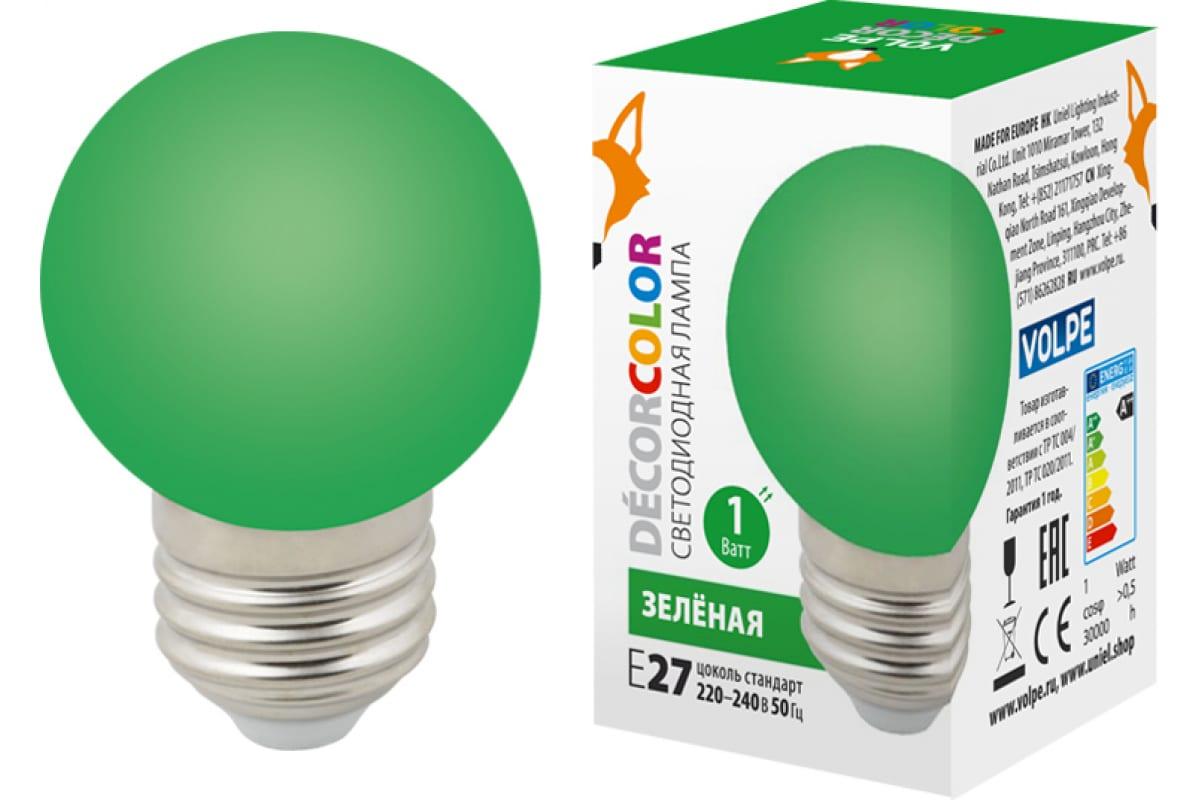 Декоративная светодиодная лампа Volpe LED-G45-1W/GREEN/E27/FR/С UL-00005648