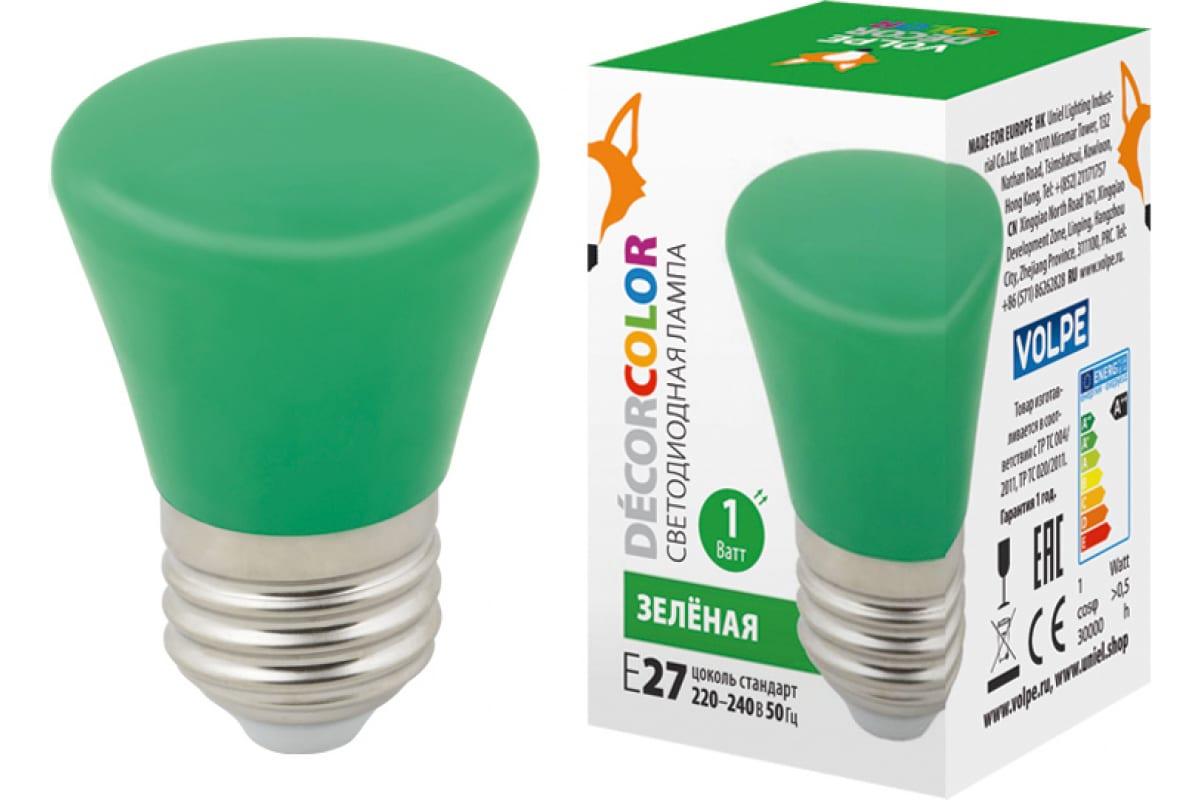 Декоративная светодиодная лампа Volpe LED-D45-1W/GREEN/E27/FR/С BELL UL-00005640