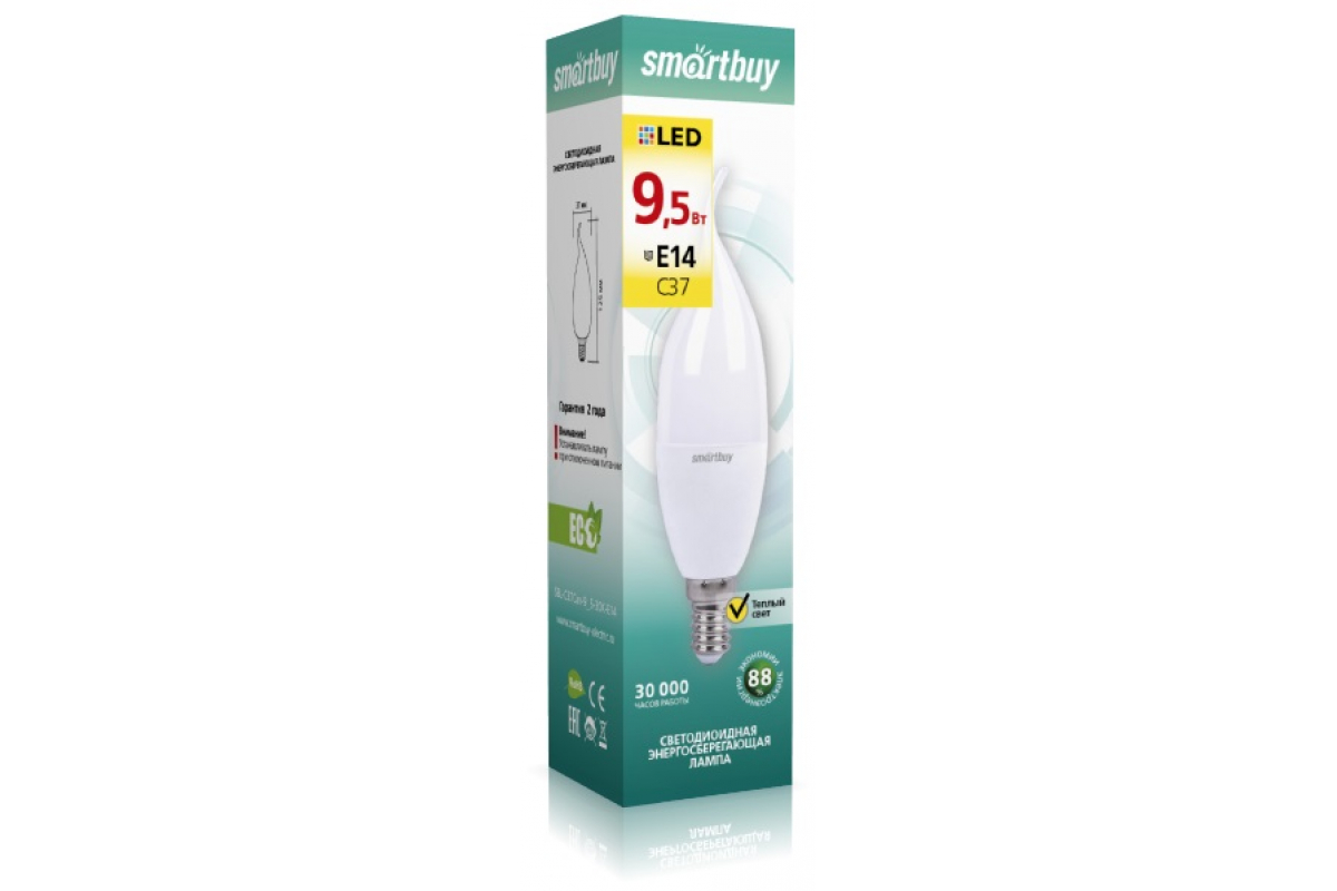 Светодиодная лампа Smartbuy LED свеча на ветру матовая C37-95W/3000/E14 SBL-C37Can-9_5-30K-E14