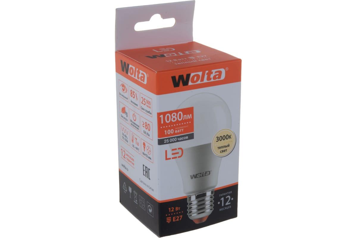 Лампа Wolta 12 Вт LED 3000K 25Y60BL12E27