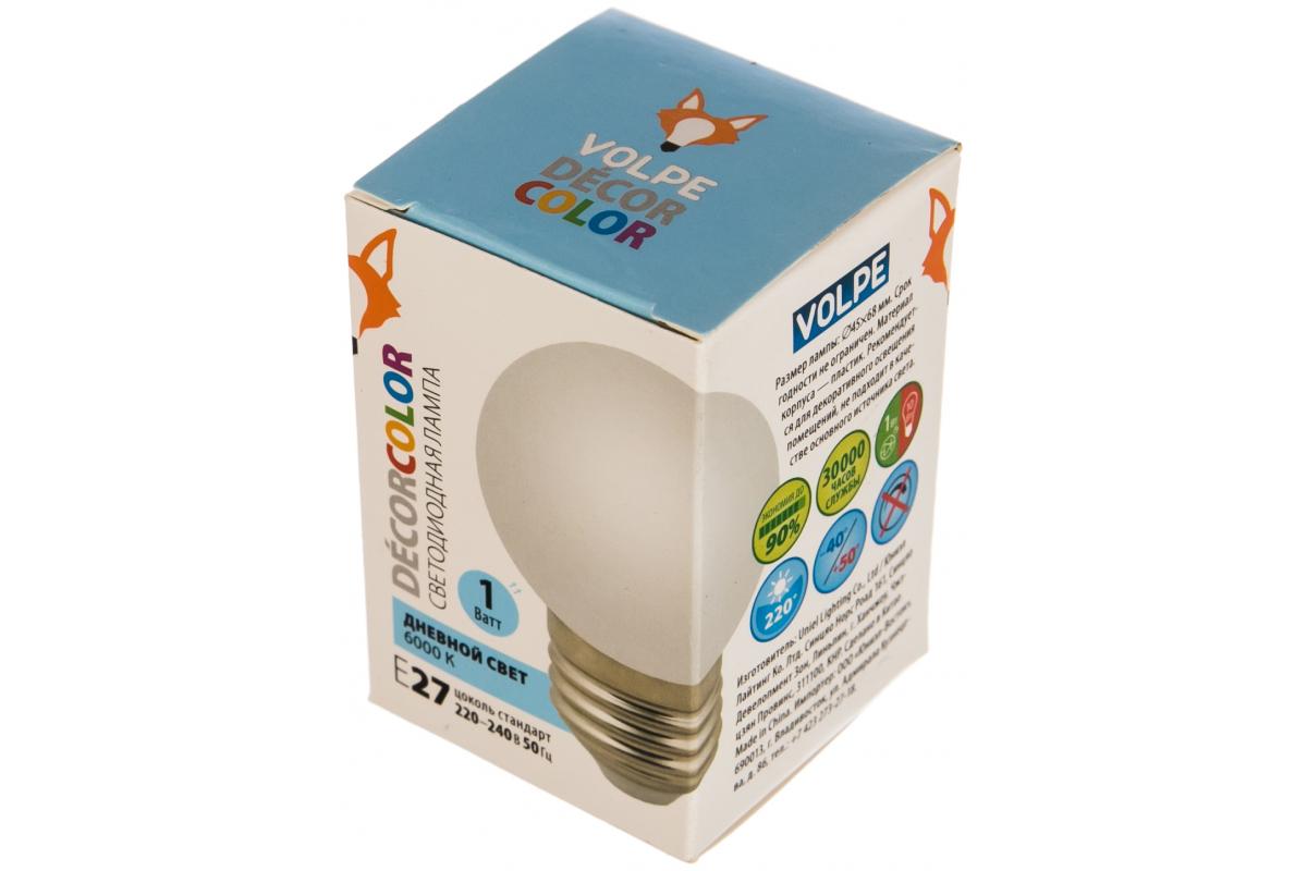 Декоративная светодиодная лампа Volpe LED-G45-1W/6000K/E27/FR/С UL-00005806