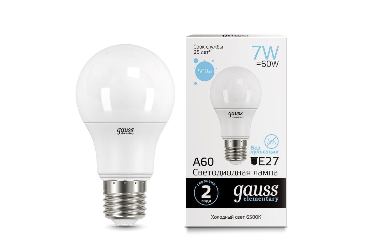Лампа Gauss LED Elementary A60 7W E27 560lm 6500K 23237A