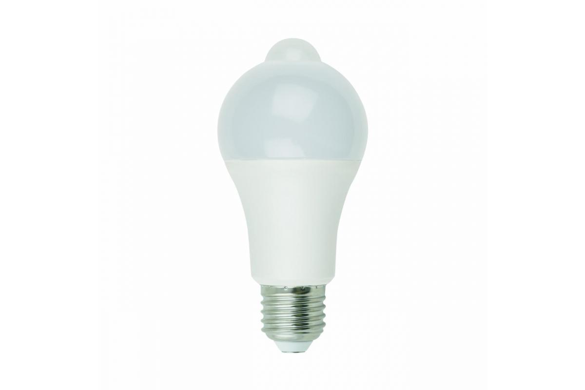 Светодиодная лампа с датчиком освещенности и датчиком движения Uniel LED-A60-12W 4000K E27 PS+MS PLS10WH UL-00005713