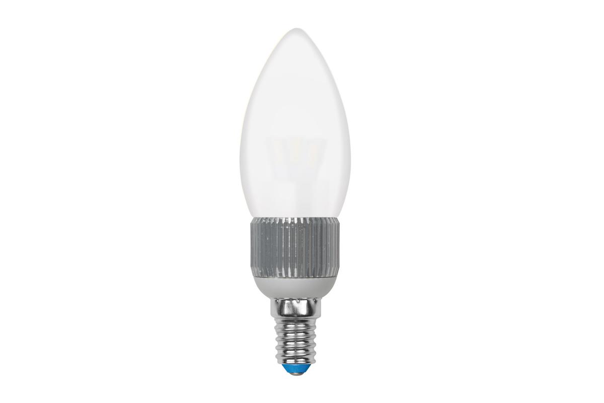Светодиодная диммируемая лампа Uniel LED-C37P-5W/NW/E14/FR/DIM ALC03SL пятилепестковая. 8748