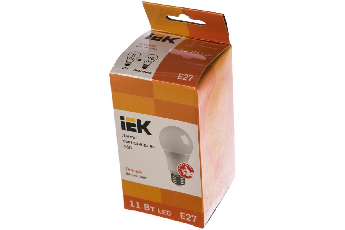 Лампа IEK LED A60 шар 11 Вт 230 В 3000К E27 LLE-A60-11-230-30-E27