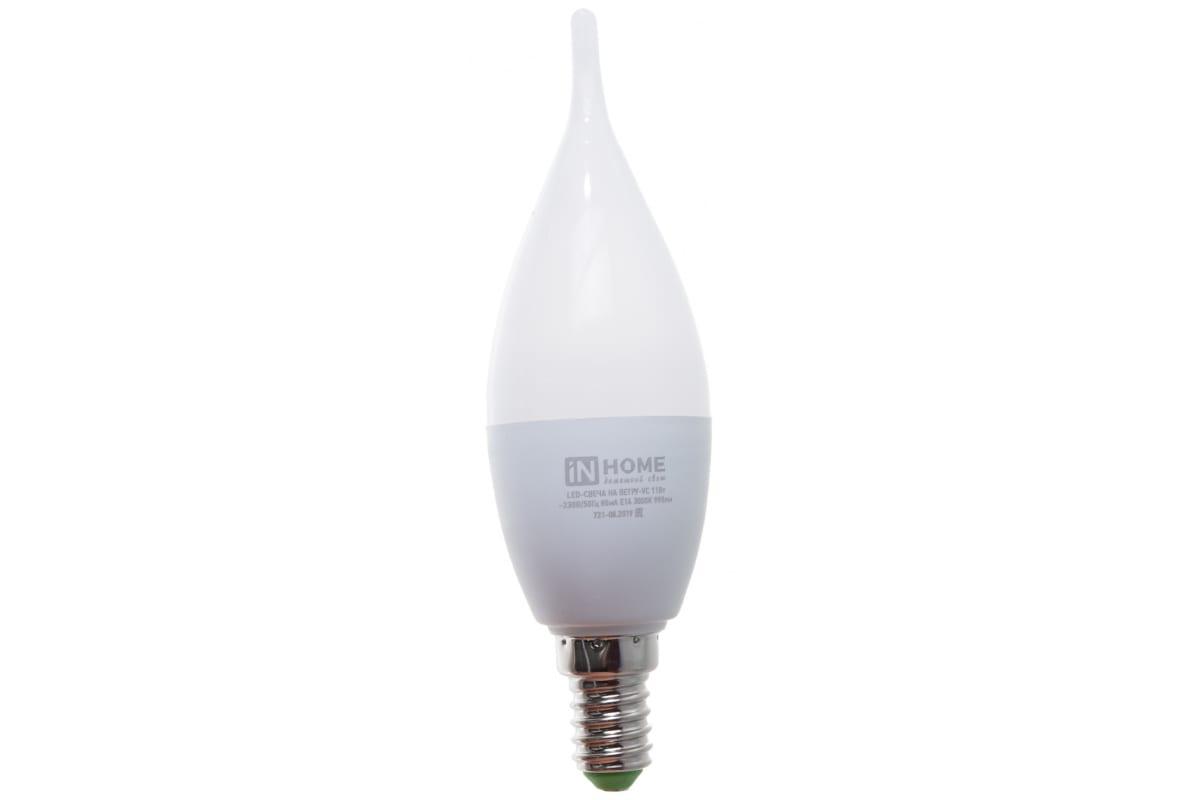 Светодиодная лампа IN HOME LED-СВЕЧА НА ВЕТРУ-VC 11Вт 230В Е14 3000К 990Лм 4690612030456
