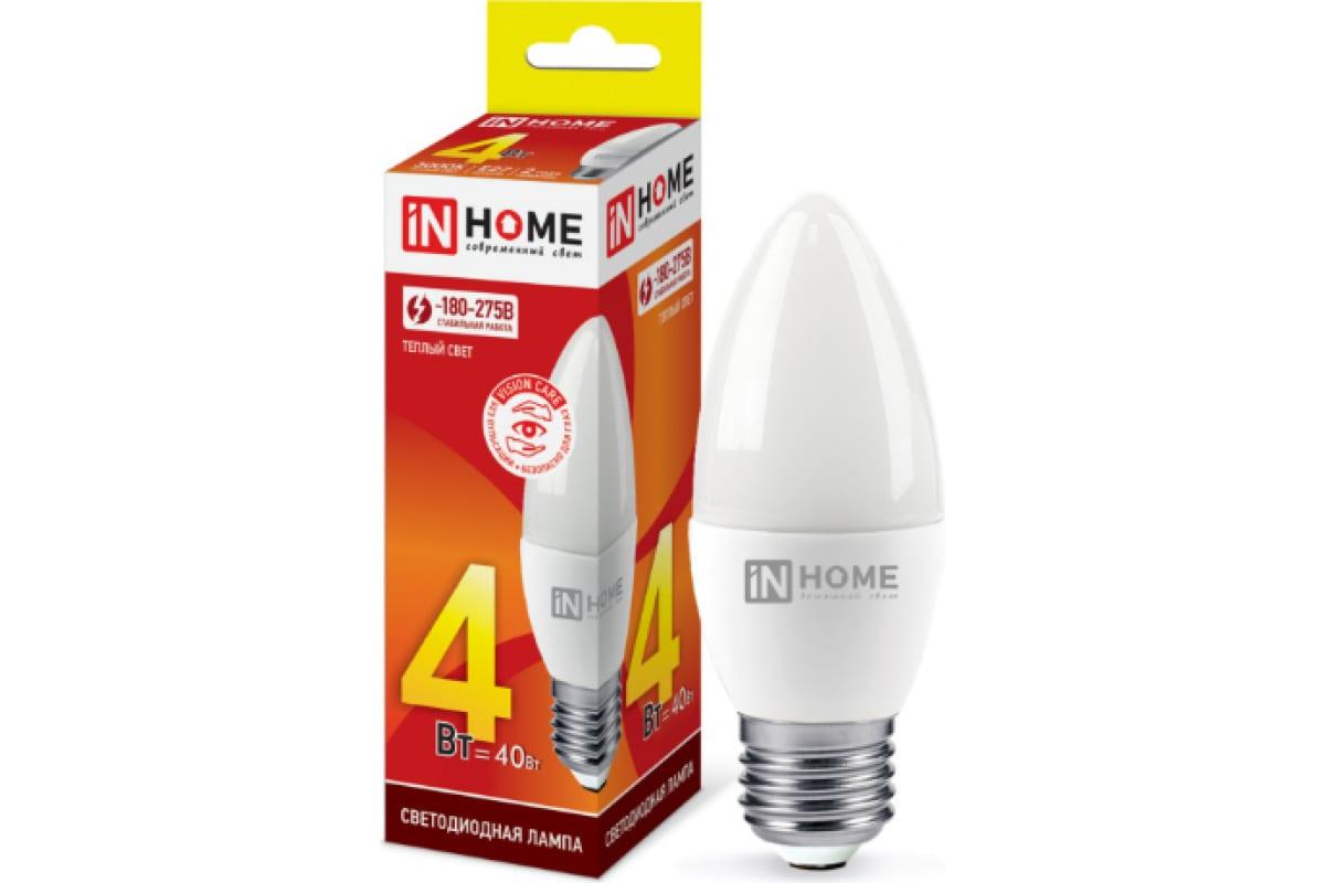Светодиодная лампа IN HOME LED-СВЕЧА-VC 4Вт 230В Е27 3000К 360Лм 4690612030111