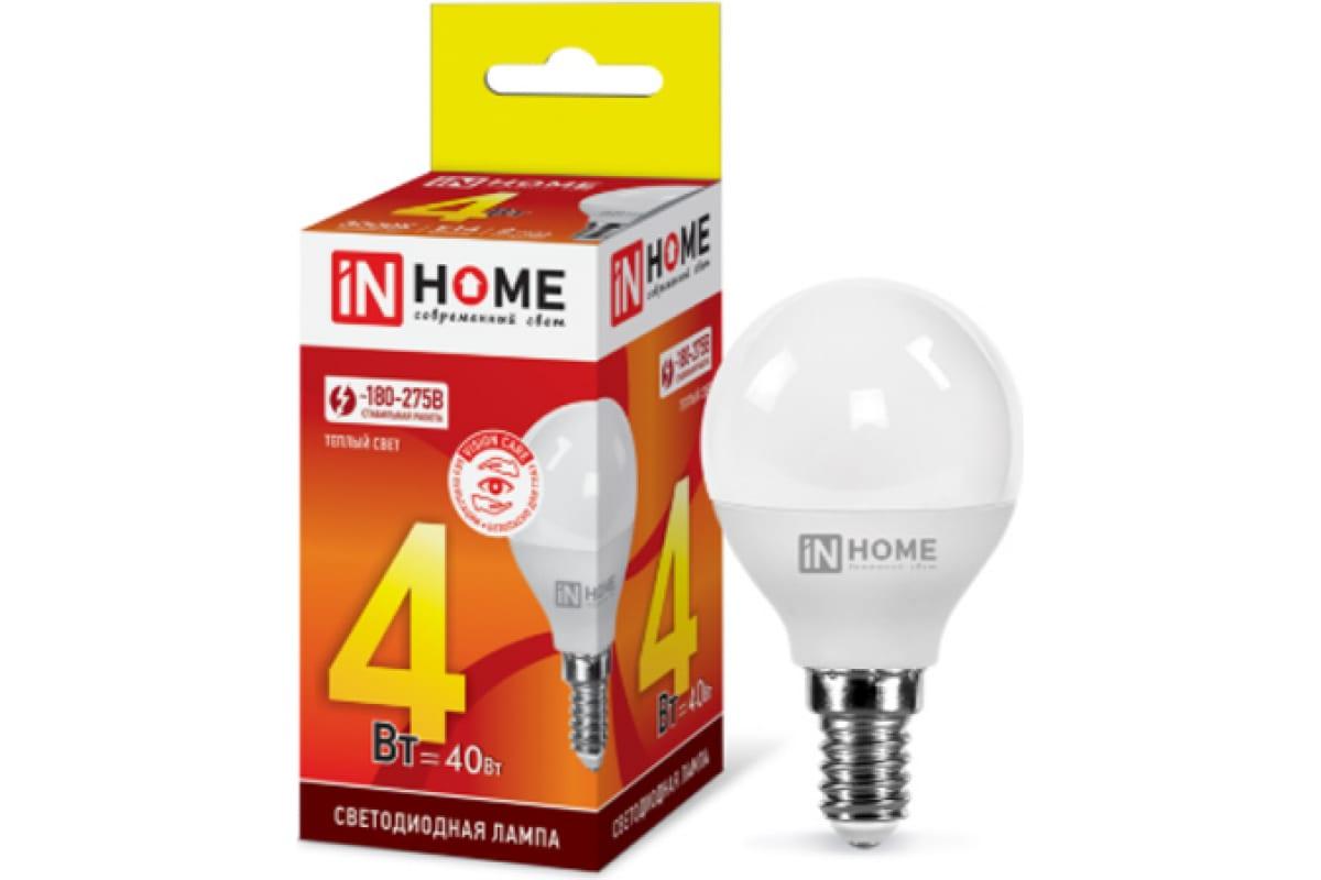 Светодиодная лампа IN HOME LED-ШАР-VC 4Вт 230В Е14 3000К 360Лм 4690612030517