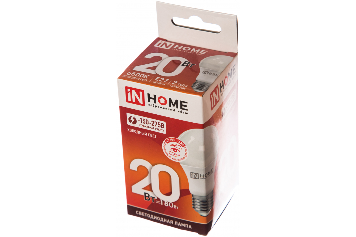 Светодиодная лампа IN HOME LED-A60-VC 20Вт 230В Е27 6500К 1800Лм 4690612020310