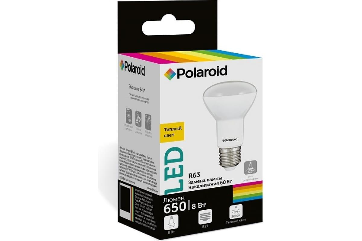 Светодиодная лампа Polaroid 220V R63 8W 3000K E27 650lm PL-R638273