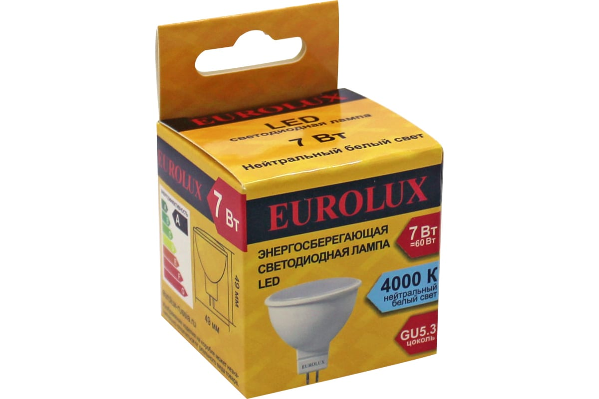 Лампа Eurolux светодиодная LL-E-MR16-7W-230-4K-GU5.3 /рефлектор 7Вт нейтр. GU5.3/  76/2/24