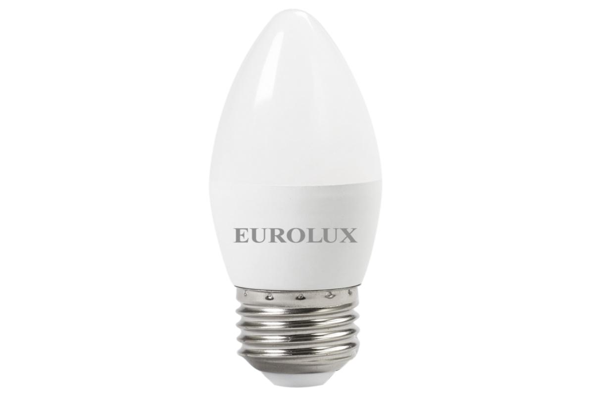 Светодиодная лампа Eurolux LL-E-C37-6W-230-27K-E27/свеча 6Вт теплый белый Е27 76/2/9