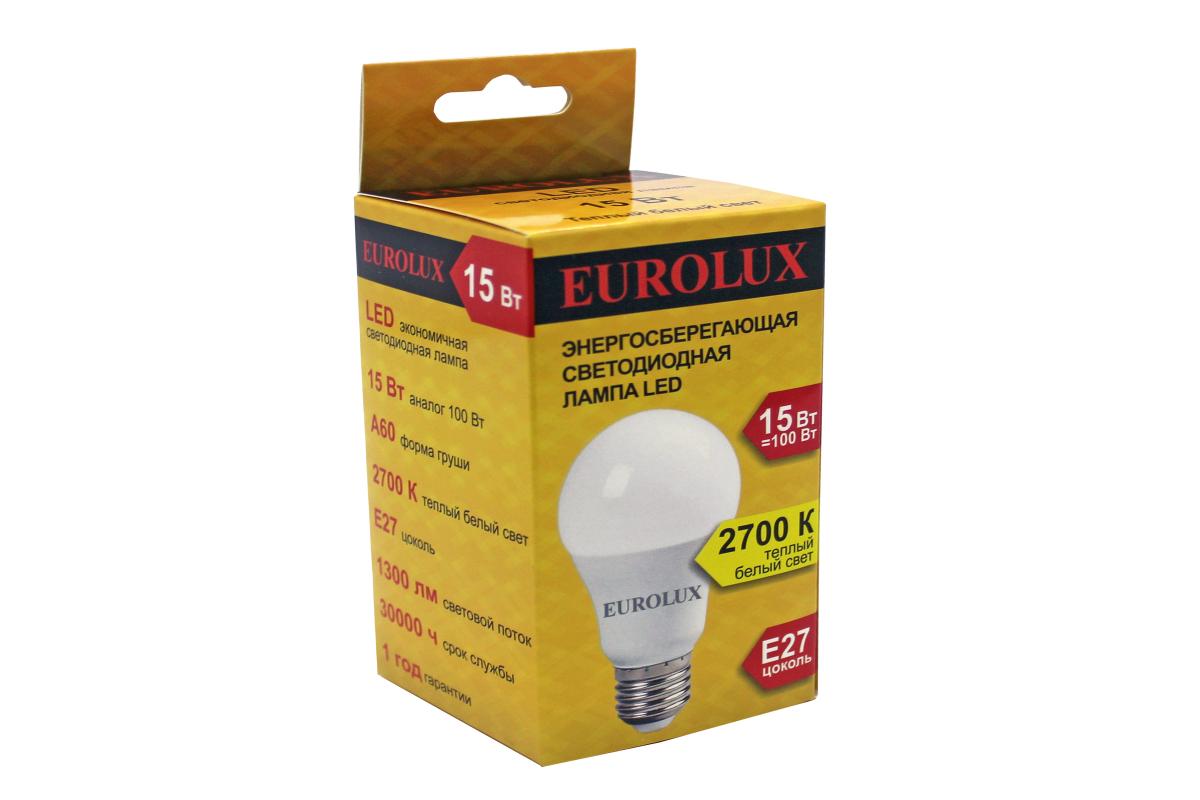 Светодиодная лампа Eurolux LL-E-A60-15W-230-27K-E27/груша 15Вт теплый белый Е27 76/2/19