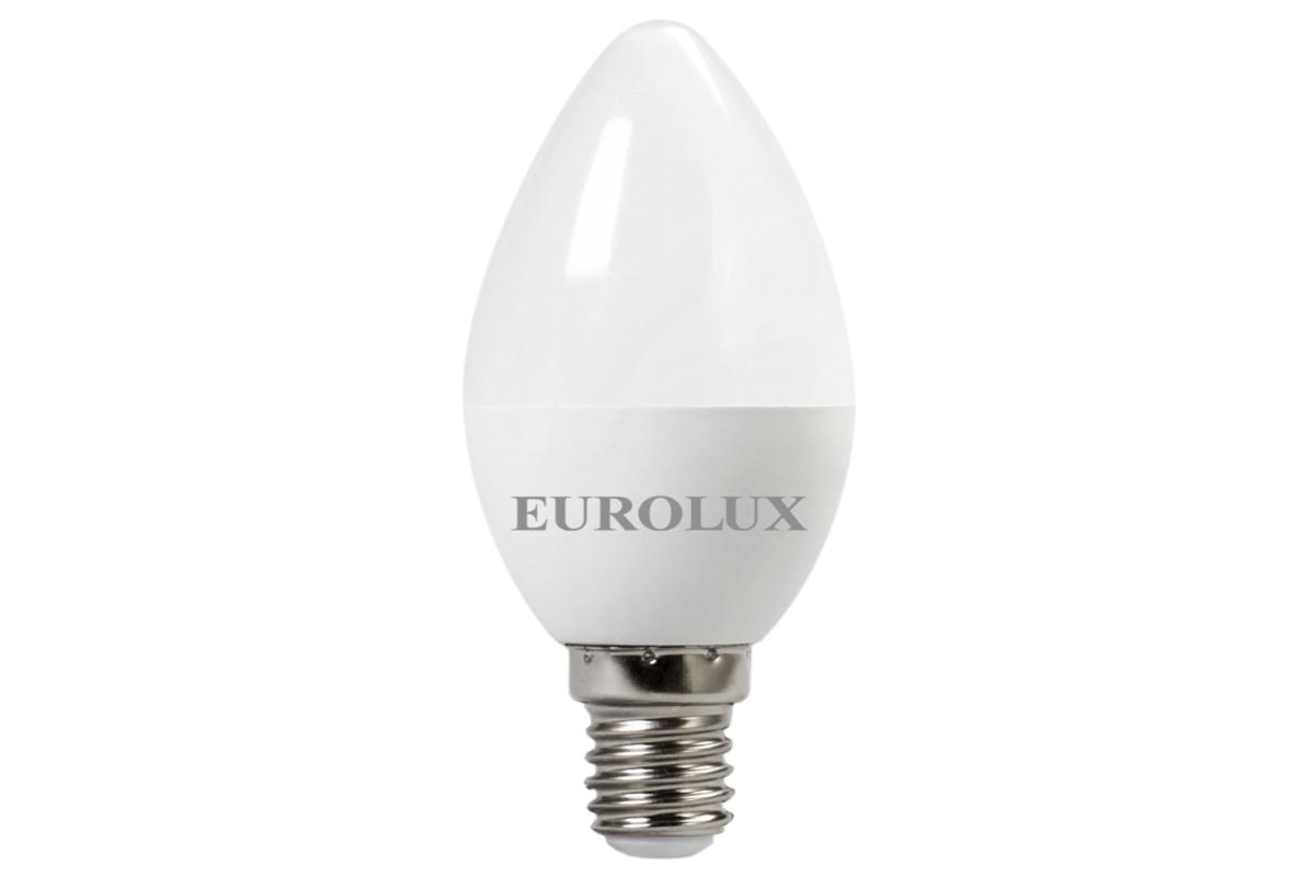 Светодиодная лампа Eurolux LL-E-C37-6W-230-27K-E14/свеча 6Вт теплый белый Е14 76/2/2