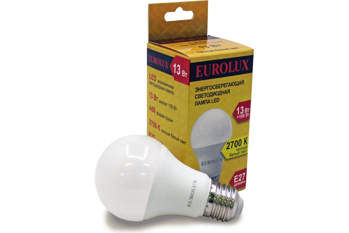 Светодиодная лампа Eurolux LL-E-A60-13W-230-27K-E27/груша 13Вт теплый белый Е27 76/2/17