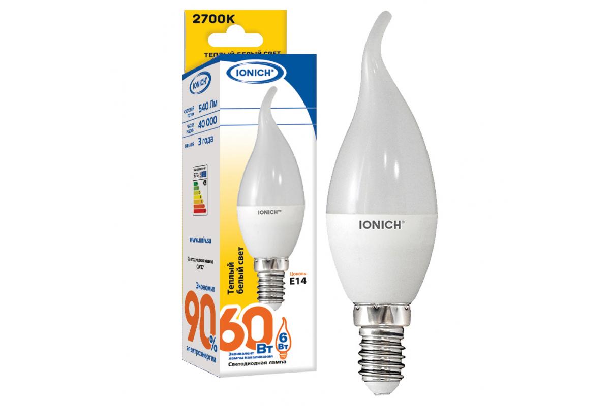 Лампа IONICH ILED-SMD2835-CW37-6-540-230-2.7-E14 1632