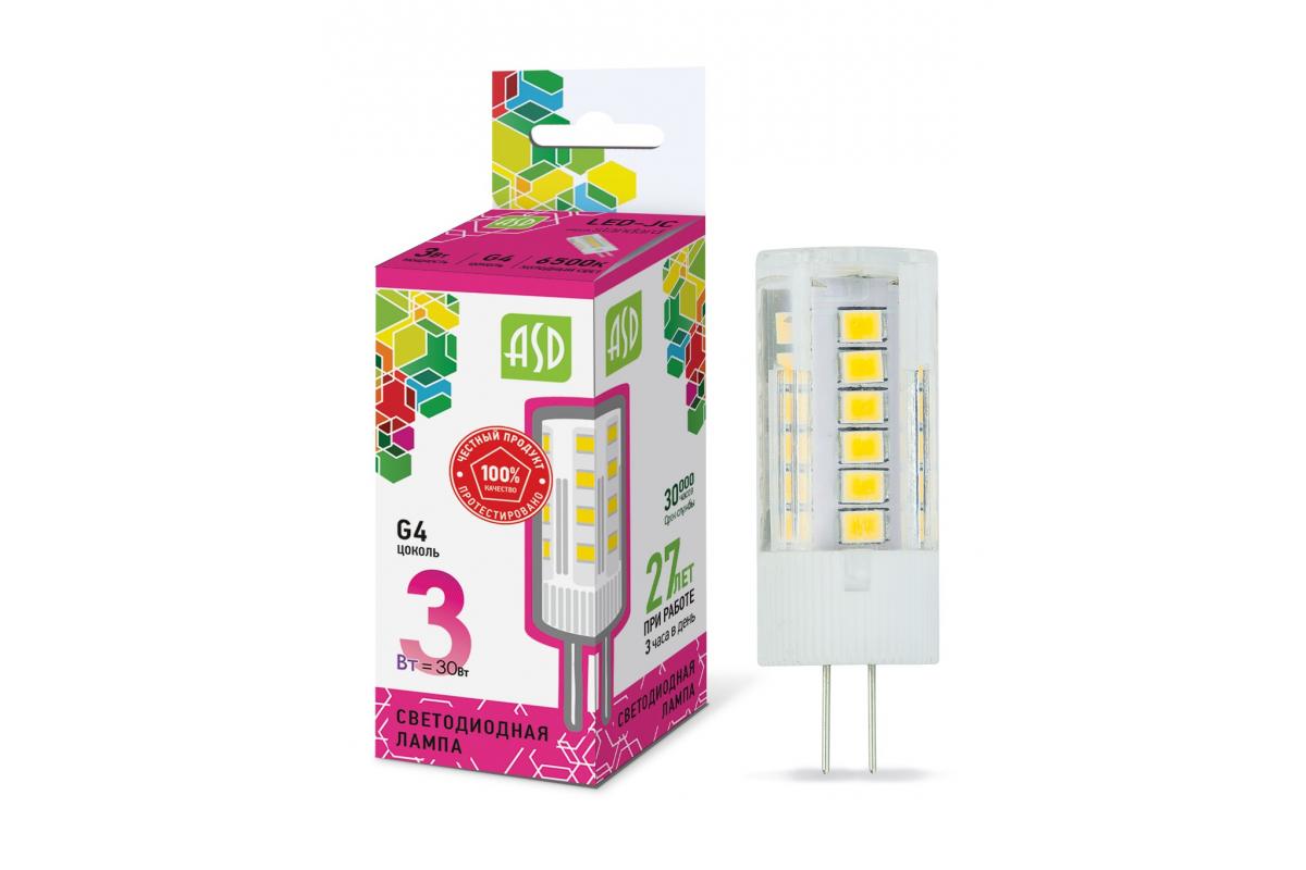 Светодиодная лампа ASD LED-JC-std 3Вт 12В G4 6500К 270Лм 4690612026381