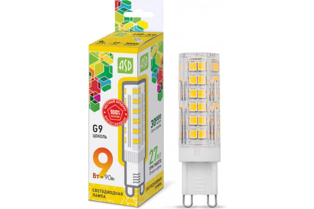 Светодиодная лампа ASD LED-JCD-std 9Вт 230В G9 3000К 810Лм 4690612026640