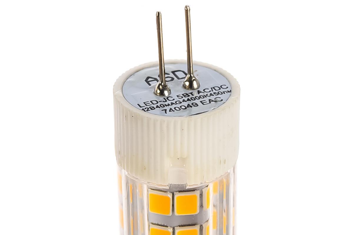 Лампа светодиодная ASD LED-JC-std 5Вт 12В G4 4000К 450Лм 4690612004662